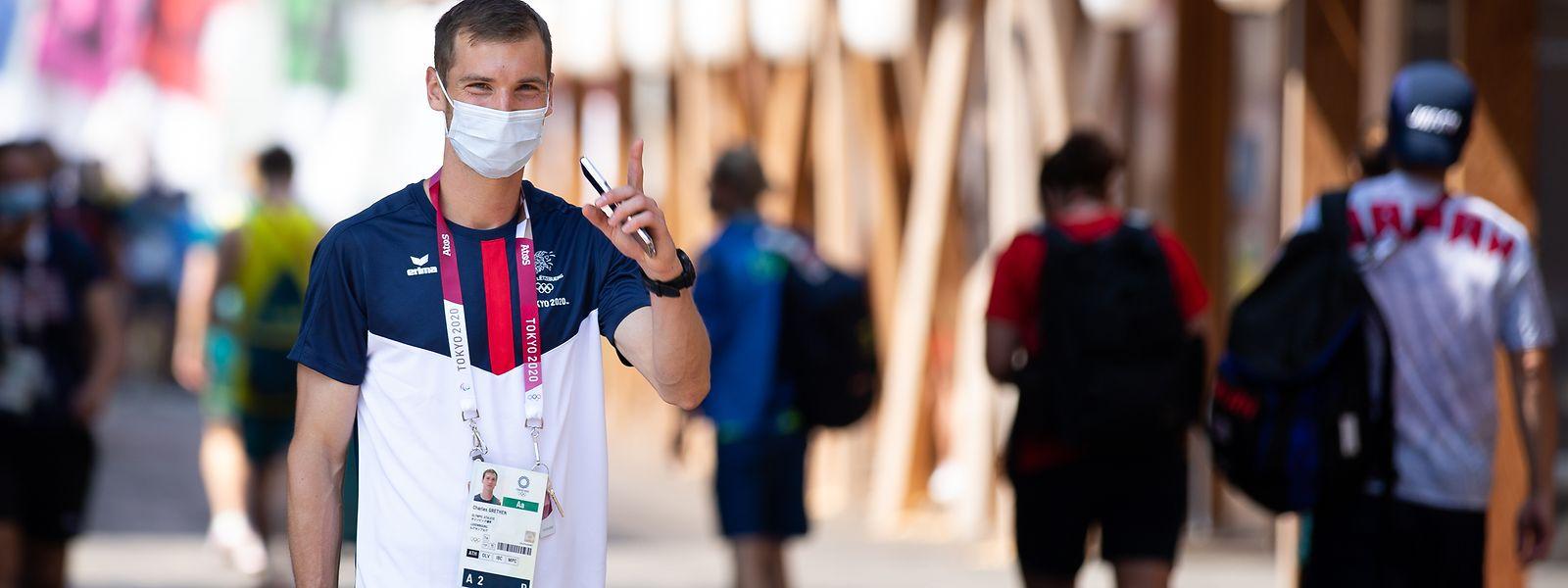 Locker, lässig, konzentriert: Charel Grethen am Sonntag beim Interviewtermin im Olympischen Dorf.