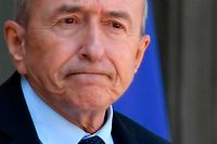 French Interior Minister Gerard Collomb looks on after attending the weekly cabinet meeting at The Elysee Palace in Paris on May 16, 2018. / AFP PHOTO / GERARD JULIEN