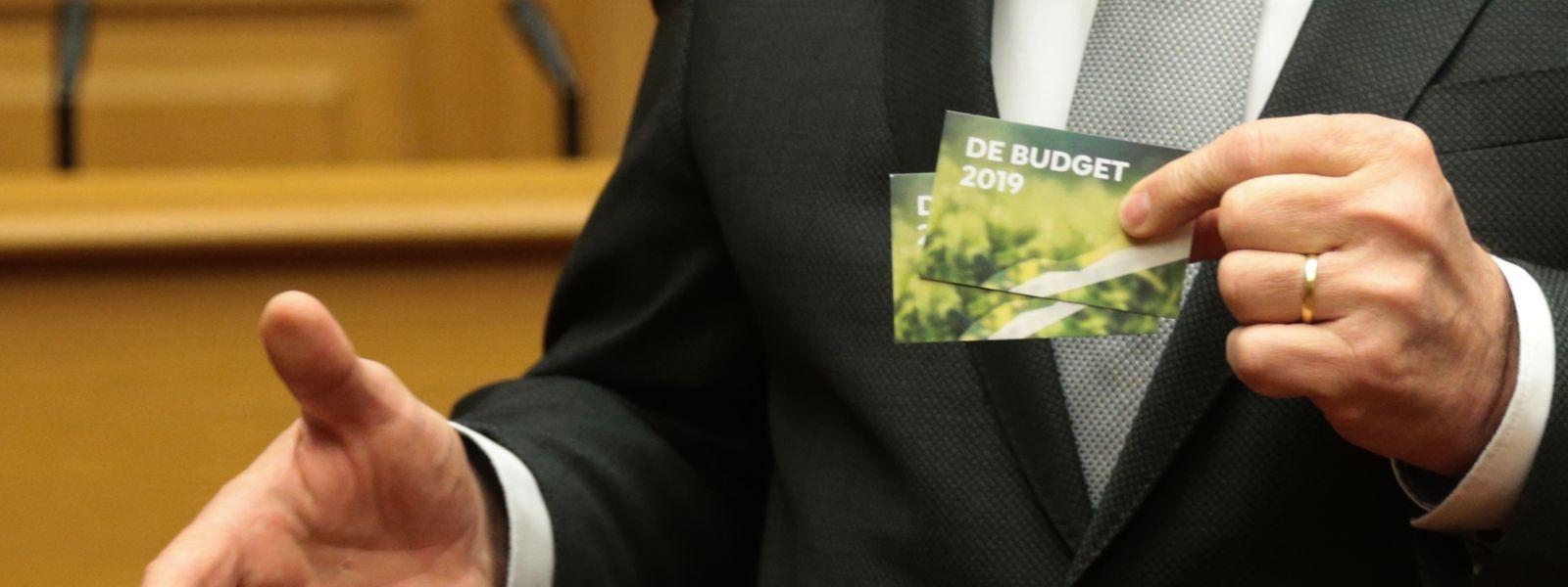 Der Haushaltsentwurf 2019 passt auf eine Visitenkarte mit einem QR Code.