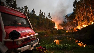 TOPSHOT - A firefighter rests next to fire combat truck during a wildfire at Penela, Coimbra, central Portugal, on June 18, 2017.  A wildfire in central Portugal killed at least 25 people and injured 16 others, most of them burning to death in their cars, the government said on June 18, 2017. Several hundred firefighters and 160 vehicles were dispatched late on June 17 to tackle the blaze, which broke out in the afternoon in the municipality of Pedrogao Grande before spreading fast across several fronts.    / AFP PHOTO / PATRICIA DE MELO MOREIRA