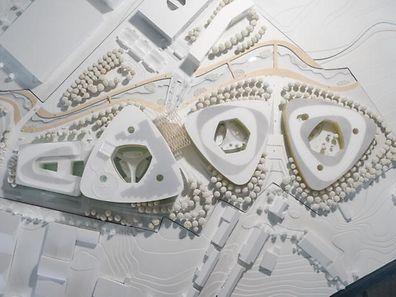 La maquette du vaste centre de santé prévu à Esch/Belval en 2022