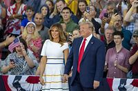 "WASHINGTON, DC - JULY 04: President Donald Trump and first lady Melania Trump take the stage on July 04, 2019 in Washington, DC. President Trump is holding a ""Salute to America"" celebration on the National Mall on Independence Day this year with musical performances, a military flyover, and fireworks.   Tasos Katopodis/Getty Images/AFP == FOR NEWSPAPERS, INTERNET, TELCOS & TELEVISION USE ONLY =="
