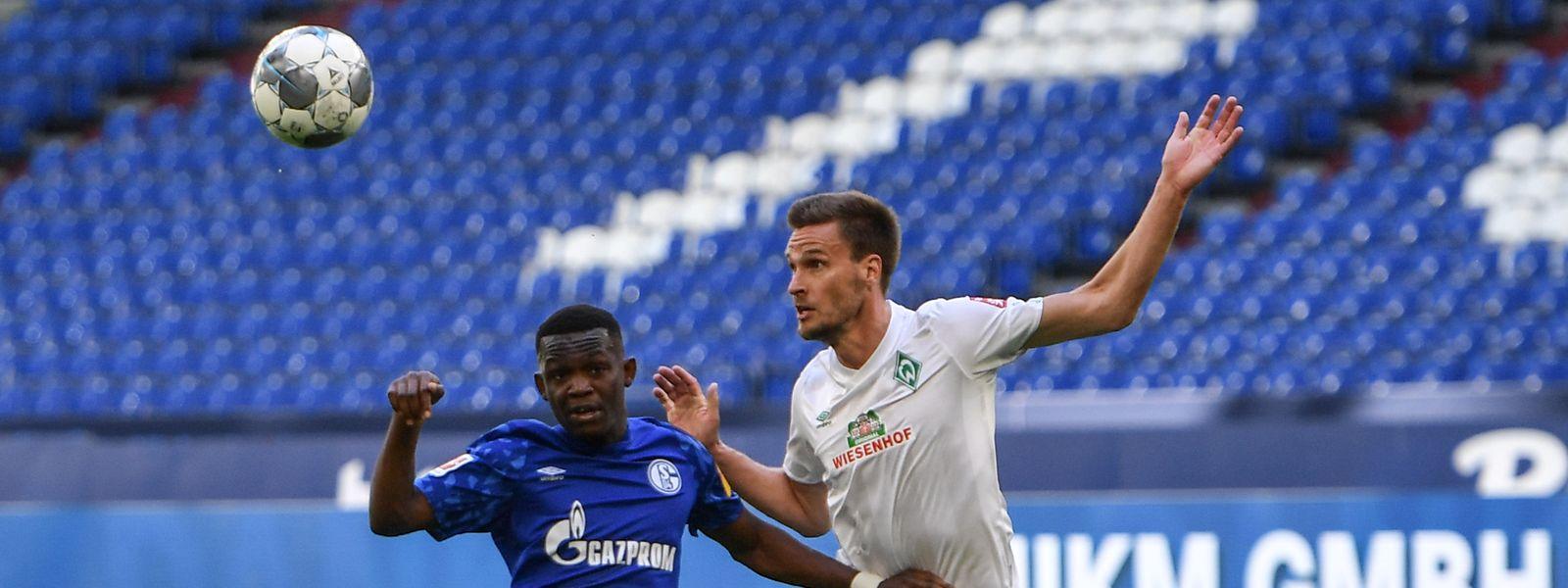 Rabbi Matondo kassiert mit Schalke eine 0:1-Heimniederlage gegen Sebastian Langkamp (r.) und Bremen.