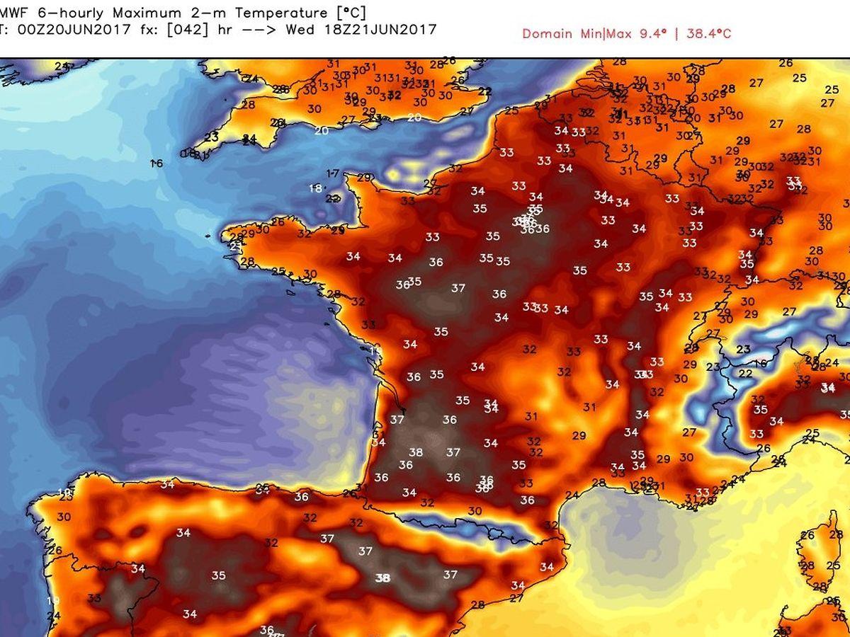 Bruthitze über Europa: Eine Karte zeigt, wie sich die Hitzewelle vor allem über Westeuropa hält.