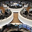 This picture shows a large view of the stock exchange in Frankfurt, Germany, on February 26, 2016. Frankfurt stock exchange operator Deutsche Boerse revealed Friday that in the proposed tie-up with the London Stock Exchange the merged group would be based in the British capital, but a potential 'Brexit' could jeopardise the plans. / AFP / DANIEL ROLAND