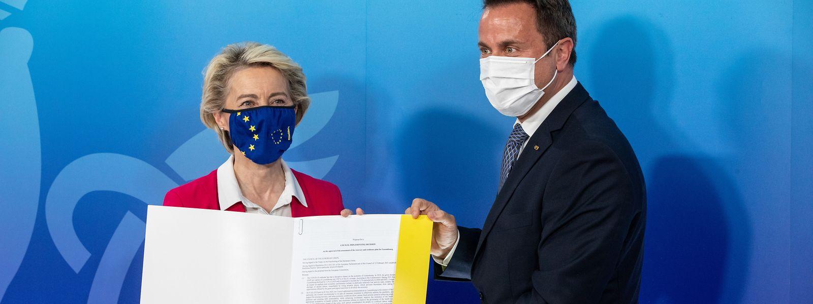 Ursula von der Leyen nahm Luxemburgs Aufbaupläne Mitte Juni an.
