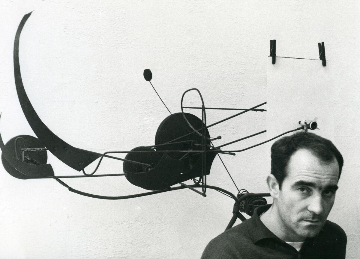 Jean Tinguely mit Méta-Matic no. 9 (Scorpion), 1959