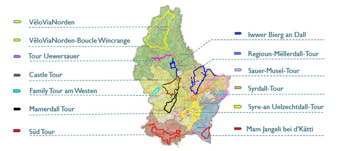 12 cycle tours are available this year, covering 550km and taking in 65 municipalities