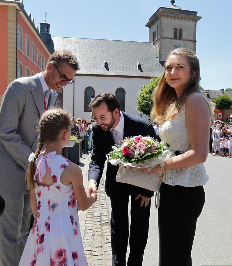 Erbgroßherzog Guillaume und Stephanie statten Grevenmacher einen Besuch ab.