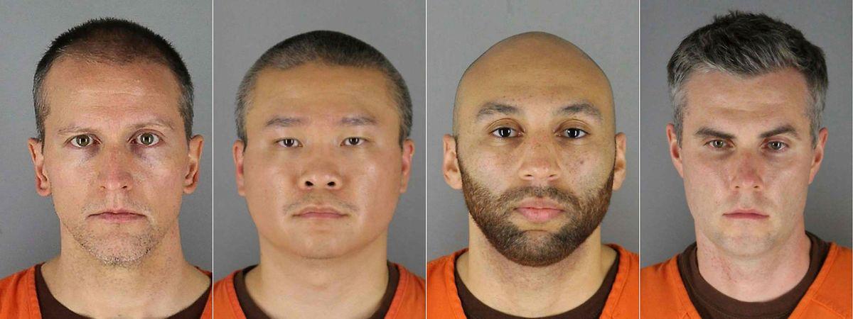 """Além de Chauvin (esquerda), Tou Thao, J. Alexander Kueng e Thomas Kiernan Lane deverão ser julgados em março de 2022 por """"cumplicidade no homicídio""""."""