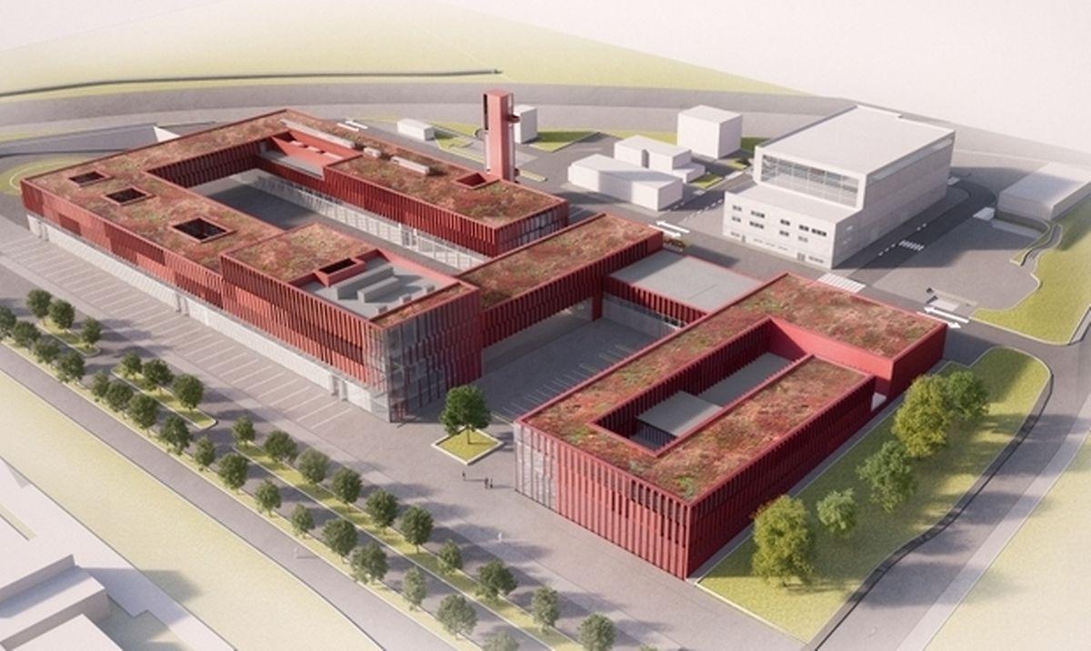 Au premier plan, la façade du CNIS qui longe le boulevard Kockelscheuer. Le futur «plateau technique» pour la formation et l'entraînement des pompiers est au second plan, bordé par l'A3.