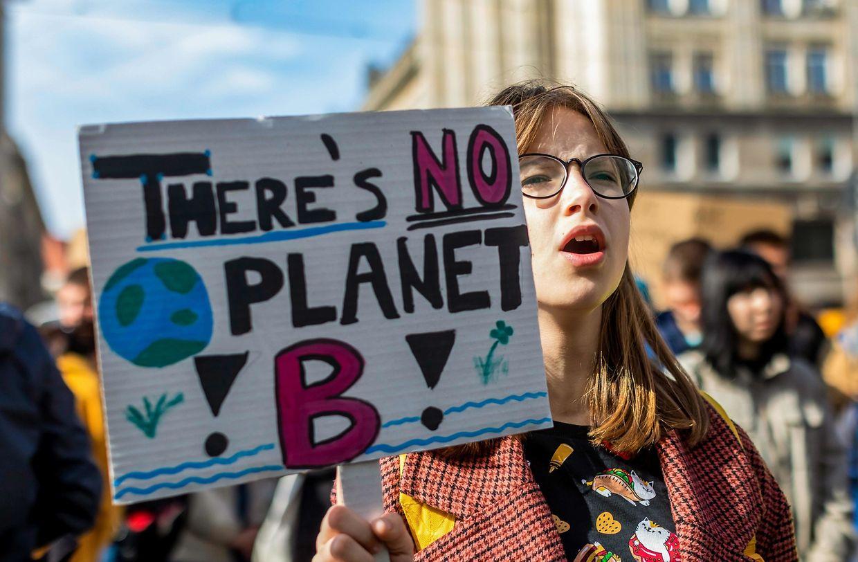 """Eine junge Demonstrantin hält ein Plakat auf dem zu lesen ist """"Es gibt keinen Planeten B""""."""