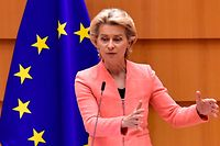 The President of the European Commission Ursula Von der Leyen addresses her first state of the union speech during a plenary session at the European Union Parliament in Brussels on September 16, 2020. (Photo by JOHN THYS / AFP)
