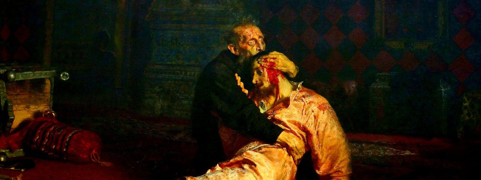"""Das Bild """"Iwan der Schreckliche und sein von ihm erschlagener Sohn am 16. November 1581"""" von Ilja Repin gilt als eines der bedeutendsten Werke des russischen Realismus."""
