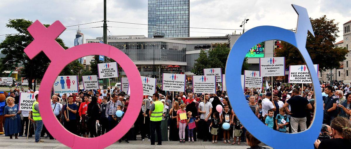 Im Zuge der LGBT-Kundgebung gab es auch eine Gegendemonstration von Konservativen.