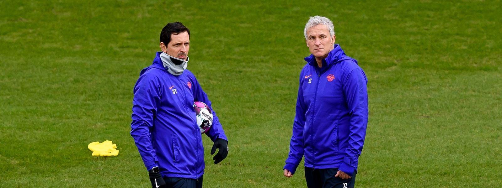 Dino Toppmöller (l.) und Xaver Zembrod (r.) begleiten Julian Nagelsmann nach München.