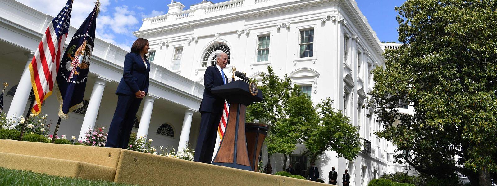 US-Präsident Joe Biden bei einer Pressekonferenz im Rosengarten des Weißen Hauses am Donnerstag.