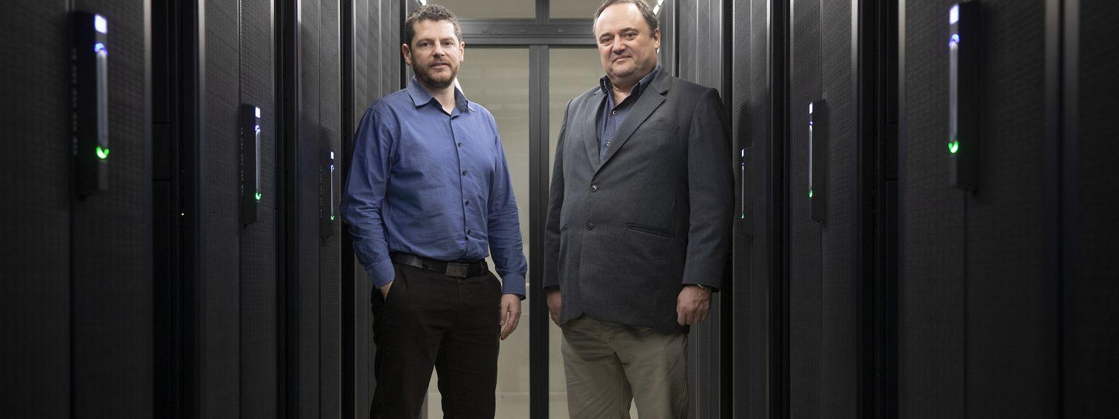 Die beiden Wissenschaftler Sébastien Varrette (l.) und Pascal Bouvry im Rechenzentrum der Universität. Forschung wird zunehmend mithilfe von digitalen Modellen betrieben, wofür große Rechenleistungen notwendig sind.