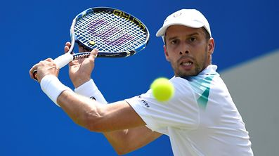 Britain Tennis - Aegon Championships - Queen's Club, London - June 21, 2017   Luxembourg's Gilles Muller in action during his second round match against France's Jo-Wilfried Tsonga   Action Images via Reuters / Tony O'Brien