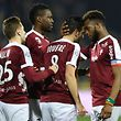 Metz's palyers celebrate after scoring a goal during the French L1 football match between Metz (FCM) and Bastia (SCB) on March 17, 2017 at Saint Symphorien stadium in Longeville-Les-Metz, eastern France.  / AFP PHOTO / Jean Christophe VERHAEGEN