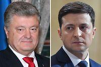 Am 21. April findet die Stichwahl zwischen Petro Poroschenko (l.) und Wladimir Selenski statt.