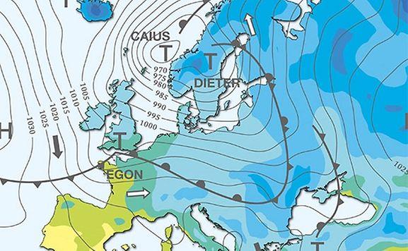 Das Randtief Egon bringt Sturm nach Mitteleuropa.