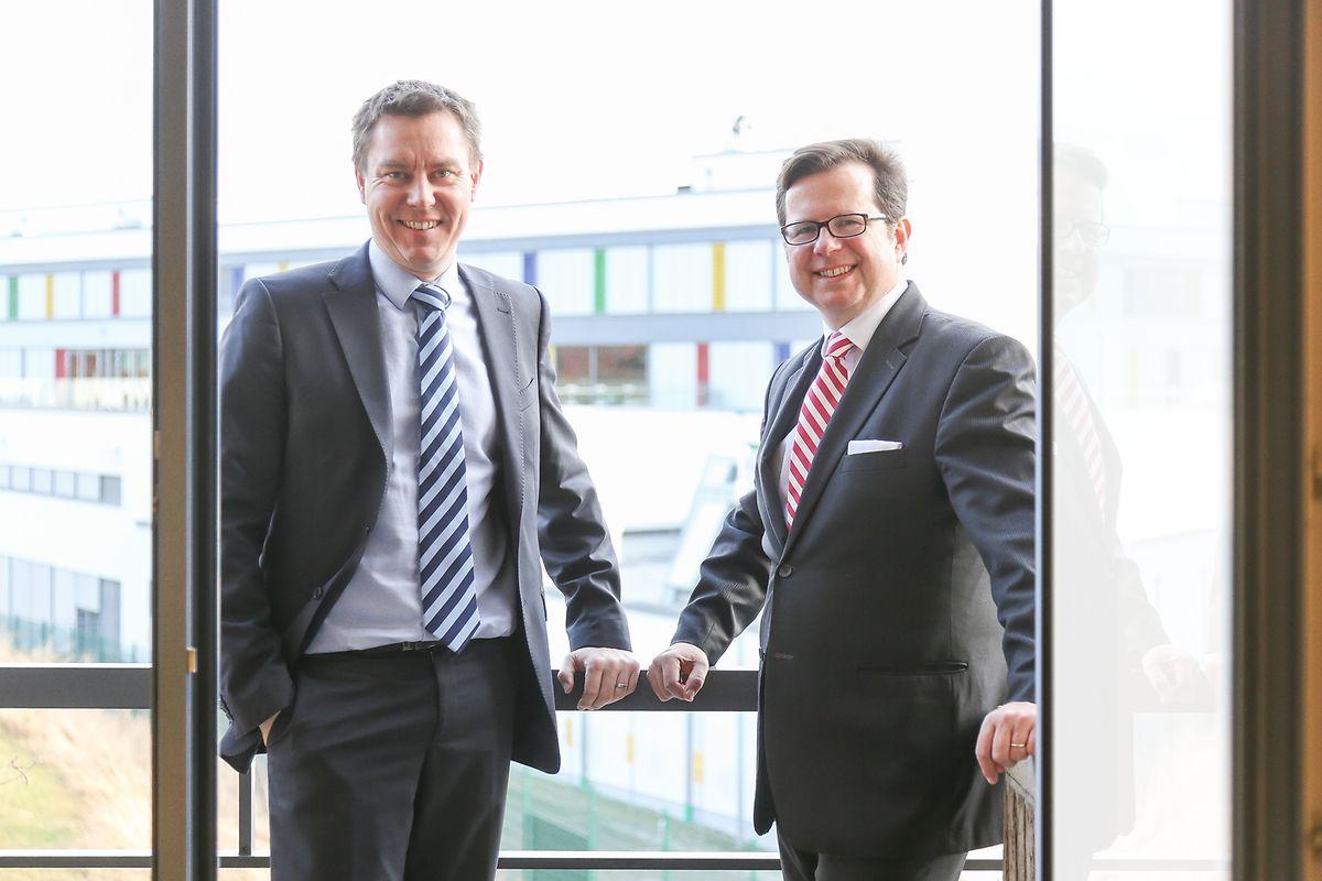 Lucien Hirsch, président du comité d'investissement, et Thibaud de Barsy, directeur général de Keytrade Bank, ont attiré quelques dizaines de millions d'euros d'investissement avec leur nouveau service.
