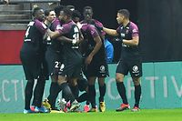 Metz players celebrates a goal during the French L1 football match between Stade de Reims and FC Metz at the Auguste Delaune Stadium in Reims, northeastern France on January 25, 2020. (Photo by DENIS CHARLET / AFP)