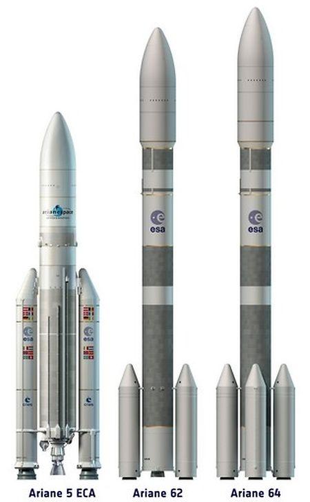 Die Ariane 5 mit ihren geplanten Nachfolgerinnen Ariane 62 (MItte) und Ariane 64.