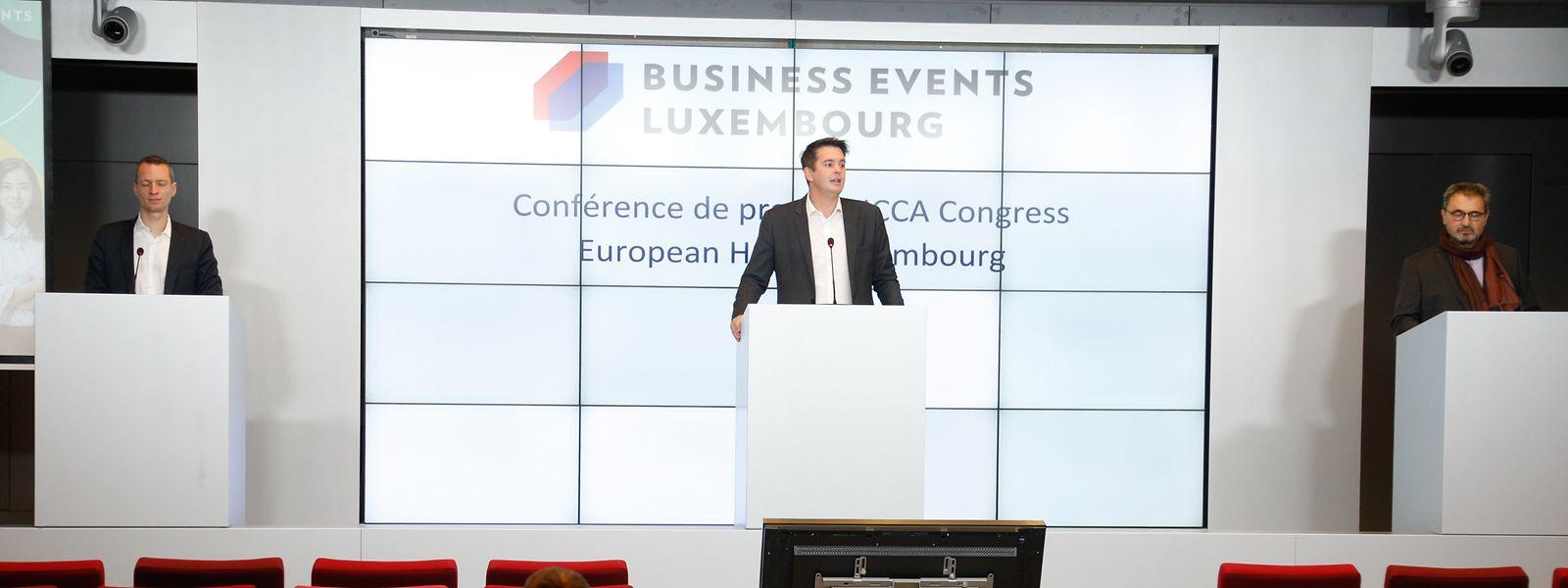 """Wollen Luxemburg als Veranstaltungsort etablieren: Serge Wilmes, erster Schöffe der Stadt Luxemburg, Mittelstandsminister Lex Delles, François Lafont, Chef des """"Luxembourg Convention Bureau"""" (von links nach rechts)"""