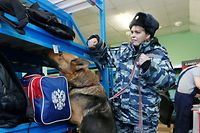 A Russian police officer leads her sniffer dog to check luggage for explosives at a left-luggage room at a railway station following the St. Petersburg metro blast that took place on April 3, in the Siberian city of Krasnoyarsk, Russia April 4, 2017. REUTERS/Ilya Naymushin