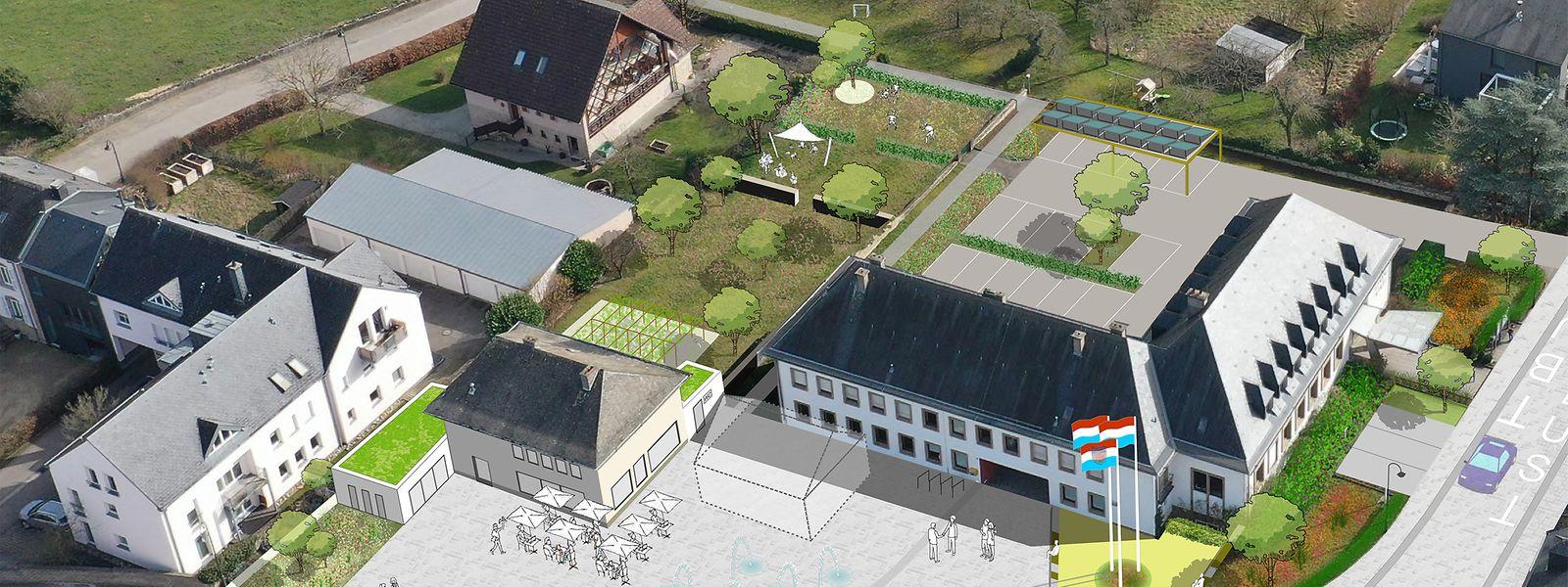 Ein Vorplatz mit Fahnen, Wasserspiel und Sitzwürfeln sowie ein Freiraum für Zeremonien und ein Kräutergarten: Das neue Projekt soll den Ortskern rund um das Rathaus in Biwer aufwerten.