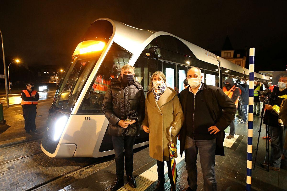 Parrains de cette soirée d'essai : le ministre de la Mobilité, la bourgmestre de Luxembourg et son échevin chargé des transports.