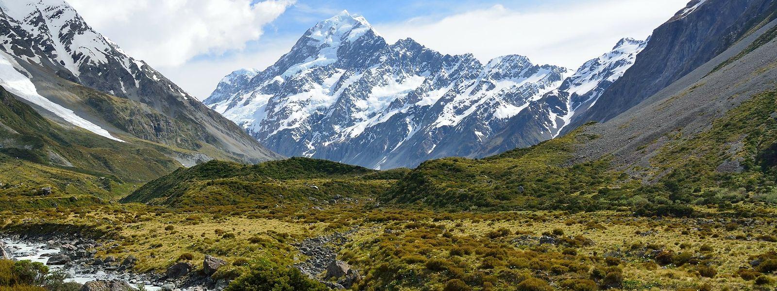 Blick auf den Mount Cook in den Neuseeländischen Alpen.