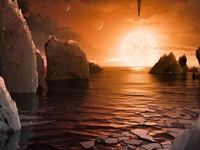 Diese künstlerische Darstellung zeigt, wie es auf dem Planeten um Trappist-1 aussehen könnte.