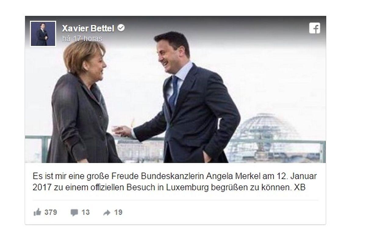 """""""É para mim um grande prazer receber a chanceler Angela Merkel a 12 de Janeiro de 2017, numa visita oficial ao Luxemburgo. XB"""""""
