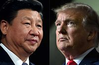 """(COMBO) This combination of pictures created on May 14, 2020 shows recent portraits of   China's President Xi Jinping (L) and US President Donald Trump. - US President Donald Trump said on May 14, 2020, he is no mood to speak with China's Xi Jinping, warning darkly he might cut off ties with the rival superpower over its handling of the coronavirus pandemic. """"I have a very good relationship, but I just -- right now I don't want to speak to him,"""" Trump told Fox Business. (Photos by Dan Kitwood and Nicholas Kamm / various sources / AFP)"""