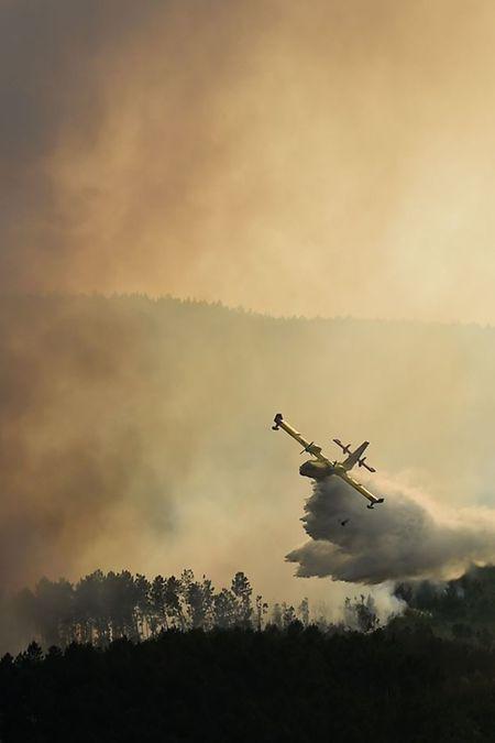 Ein spanisches Canadair-Löschflugzeug lädt seine Wasserladung über  Castanheira de Pera ab.