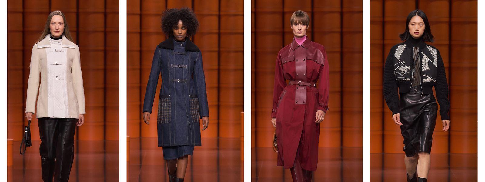 Strenge Schnitte, viele dunkle Töne und ab und zu Leder - bei Hermès blieb man der bisherigen Linie recht treu.