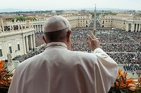 "(FILES) This file photo taken and handout on April 21, 2019 by the Vatican press office, Vatican Media, shows Pope Francis delivering the ""Urbi et Orbi"" blessing to the city and to the world from the balcony of St Peter's basilica after the Easter Sunday Mass in the Vatican. - March 15, 2020 Vatican says to hold Easter celebrations without congregation due to coronavirus (Covid-19). (Photo by Handout / VATICAN MEDIA / AFP) / RESTRICTED TO EDITORIAL USE - MANDATORY CREDIT ""AFP PHOTO / VATICAN MEDIA"" - NO MARKETING NO ADVERTISING CAMPAIGNS - DISTRIBUTED AS A SERVICE TO CLIENTS ---"