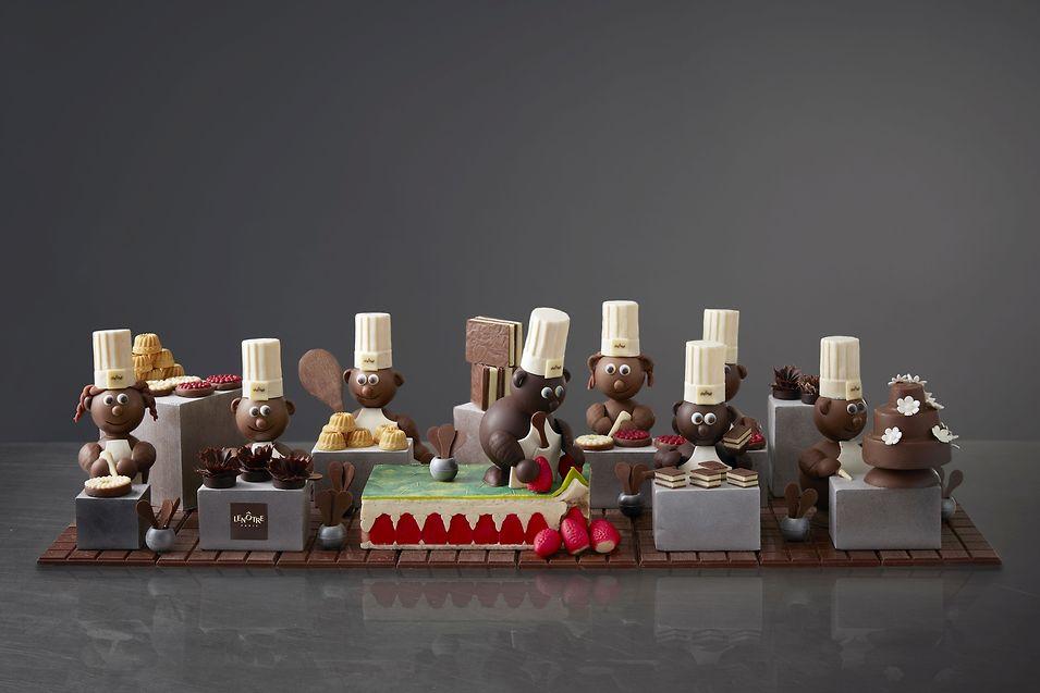 La brigade en chocolat du traiteur Lenôtre