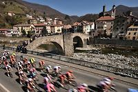 The pack rides through Campo Ligure during the one-day classic cycling race Milan - San Remo on March 23, 2019. (Photo by Marco BERTORELLO / AFP)        (Photo credit should read MARCO BERTORELLO/AFP via Getty Images)