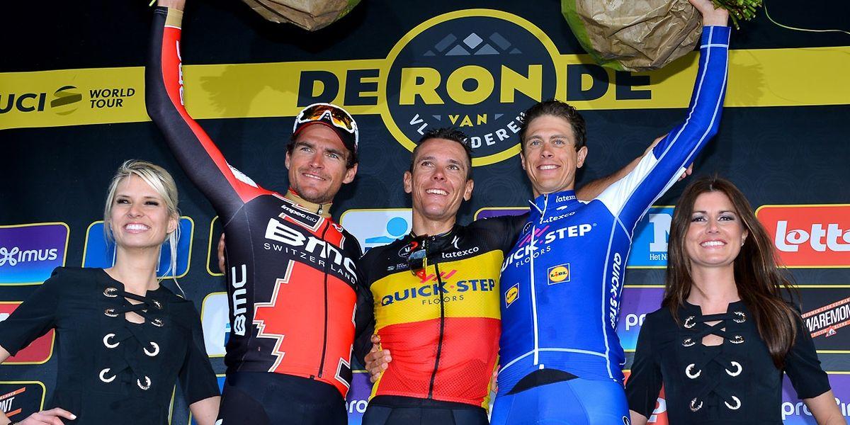 Le podium du Ronde 2017: Philippe Gilbert entouré de Greg van Avermaet et de Niki Terpstra.