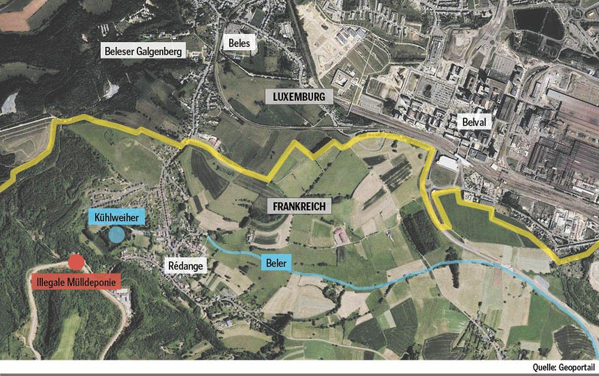 O local do despejo selvagem (asinalado a vermelho) está situado perto da fronteira com o Grão-Ducado (assinalado a amarelo).