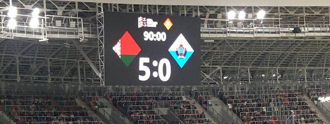 Saint-Marin a commencé son tournoi par un cinglant 0-5 reçu au Dinamo Stadion de Minsk..