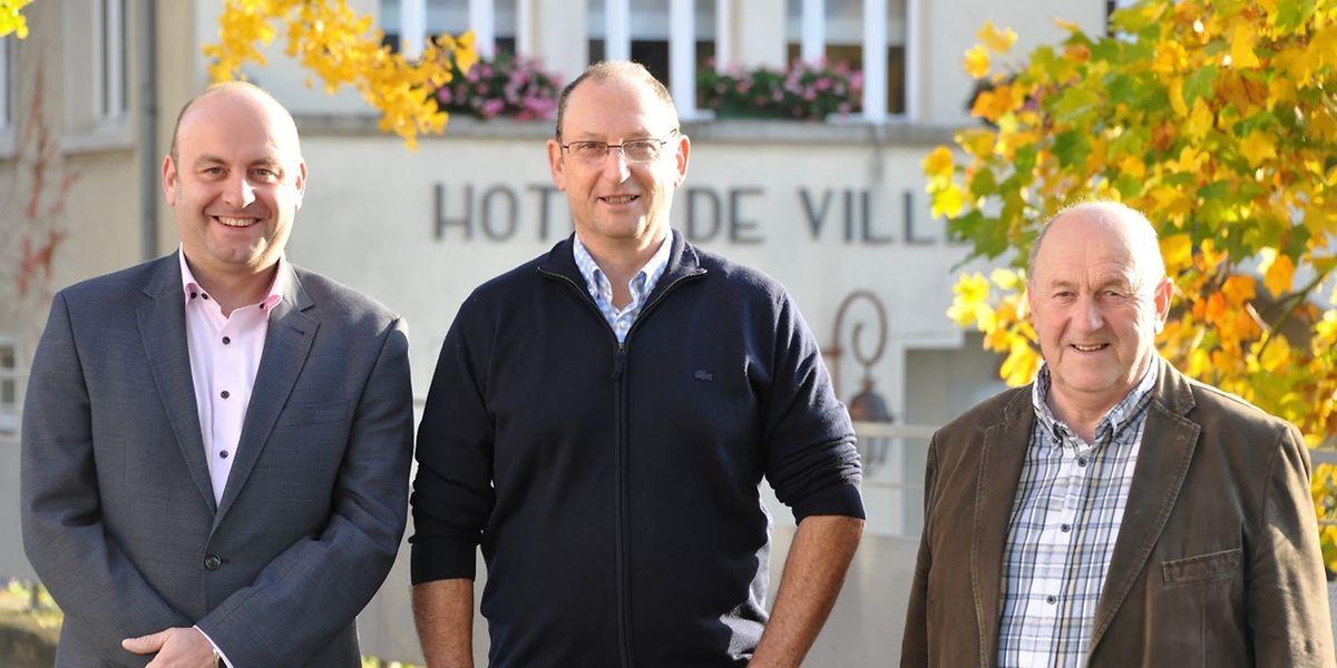 In den Startlöchern: Erster Schöffe Mike Greiveldinger (CSV), Bürgermeister Jacques Sitz (DP) und Zweiter Schöffe Pierre Singer (CSV), von links.