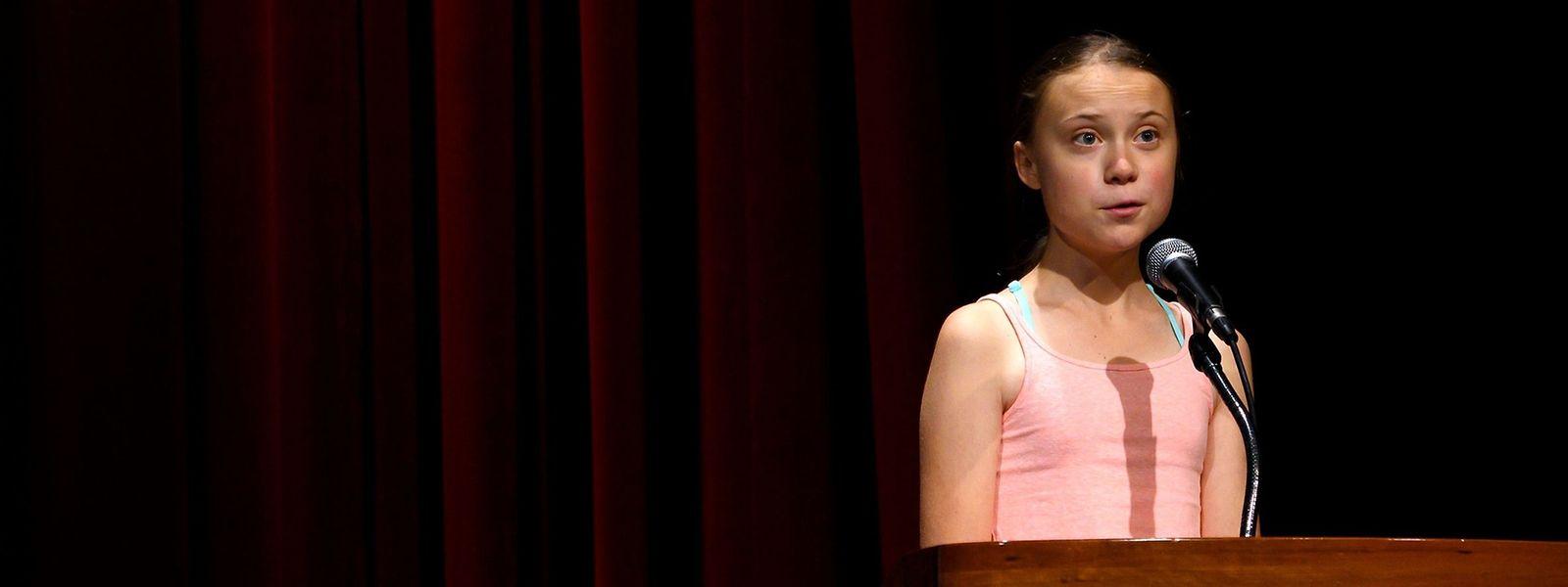 Greta Thunberg während ihrer Rede an der George Washington University in Washington DC.