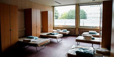 Beds in an asylum seeker shelter in Strassen