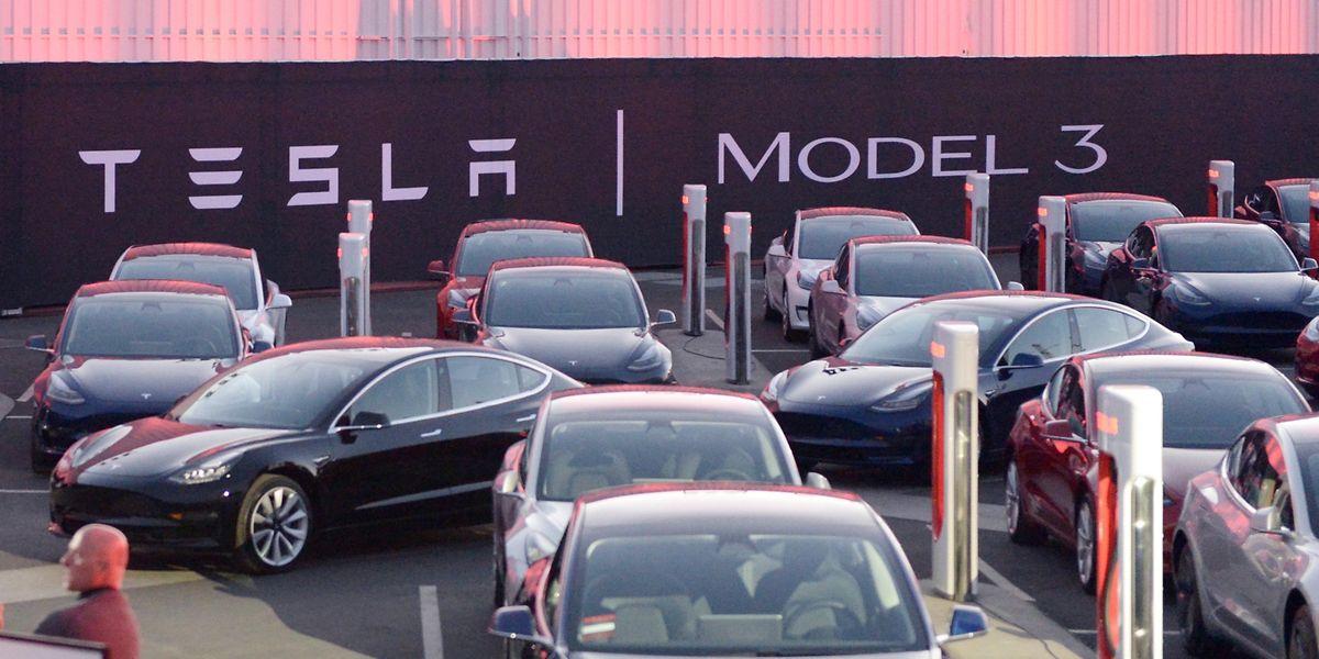 Tesla-Fahrzeuge vom Typ Model 3 stehen auf dem Tesla-Fabrikgelände.