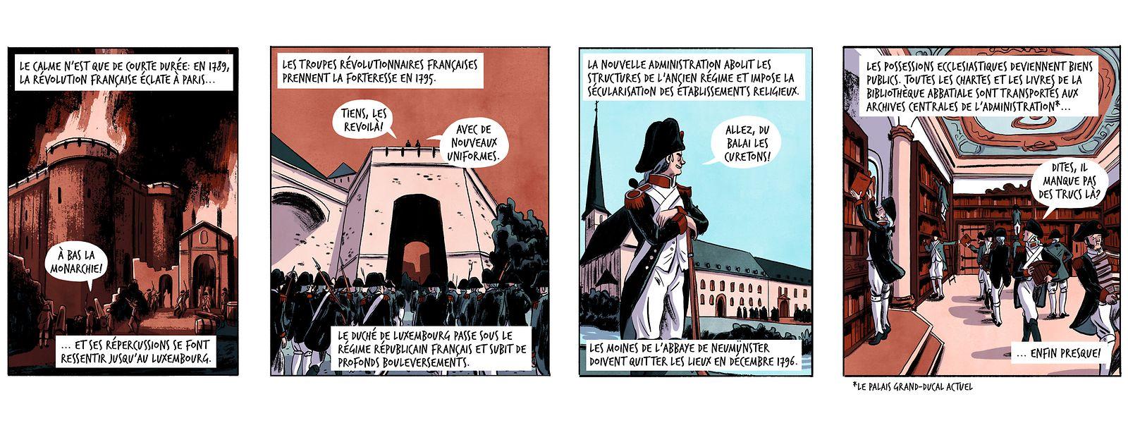 Sixième semaine: 1789-1796, les troupes révolutionnaires françaises prennent la forteresse et les moines doivent quitter Neumünster.